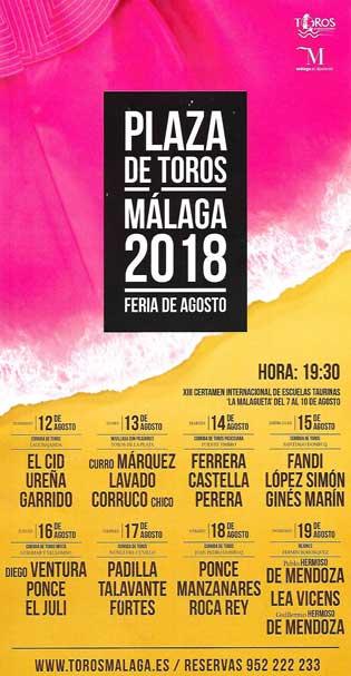 Cartel toros Feria de Málaga 2018